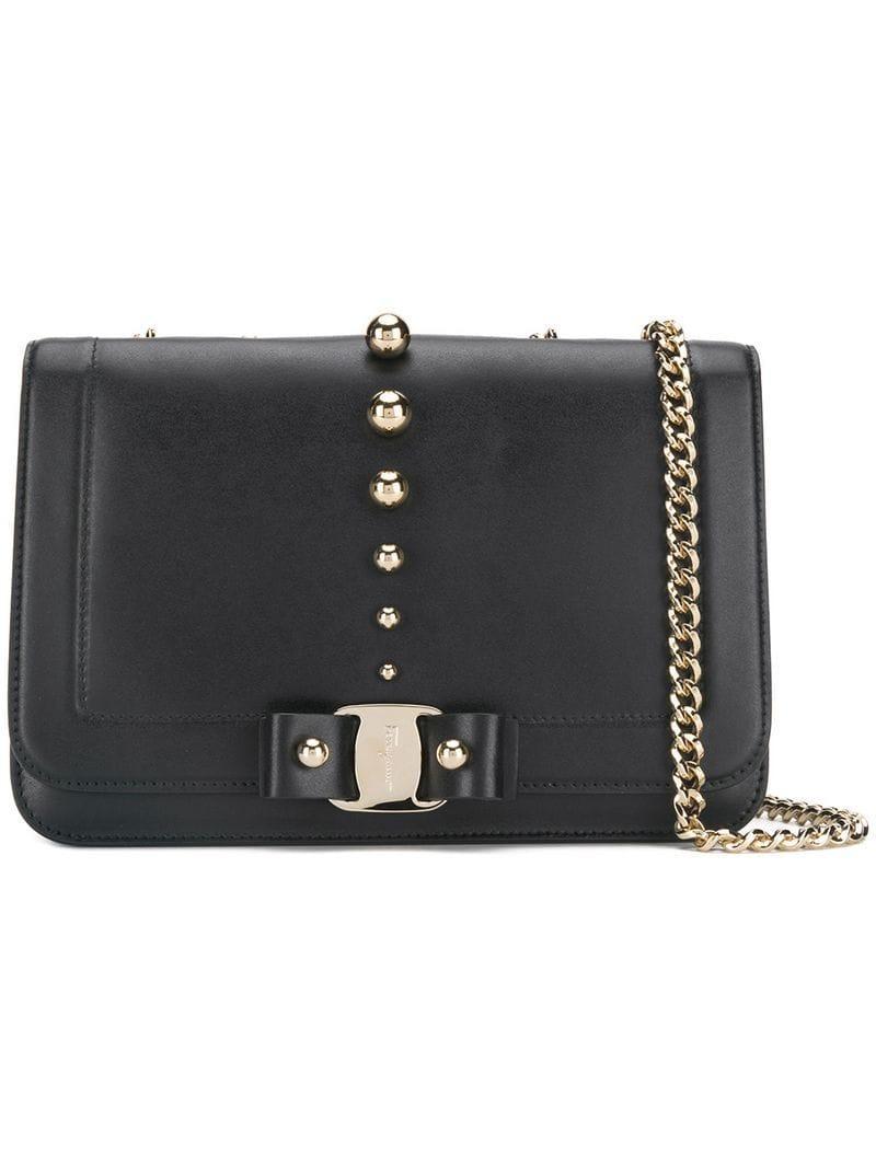 b542039be7bc Lyst - Ferragamo Vara Bow Shoulder Bag in Black