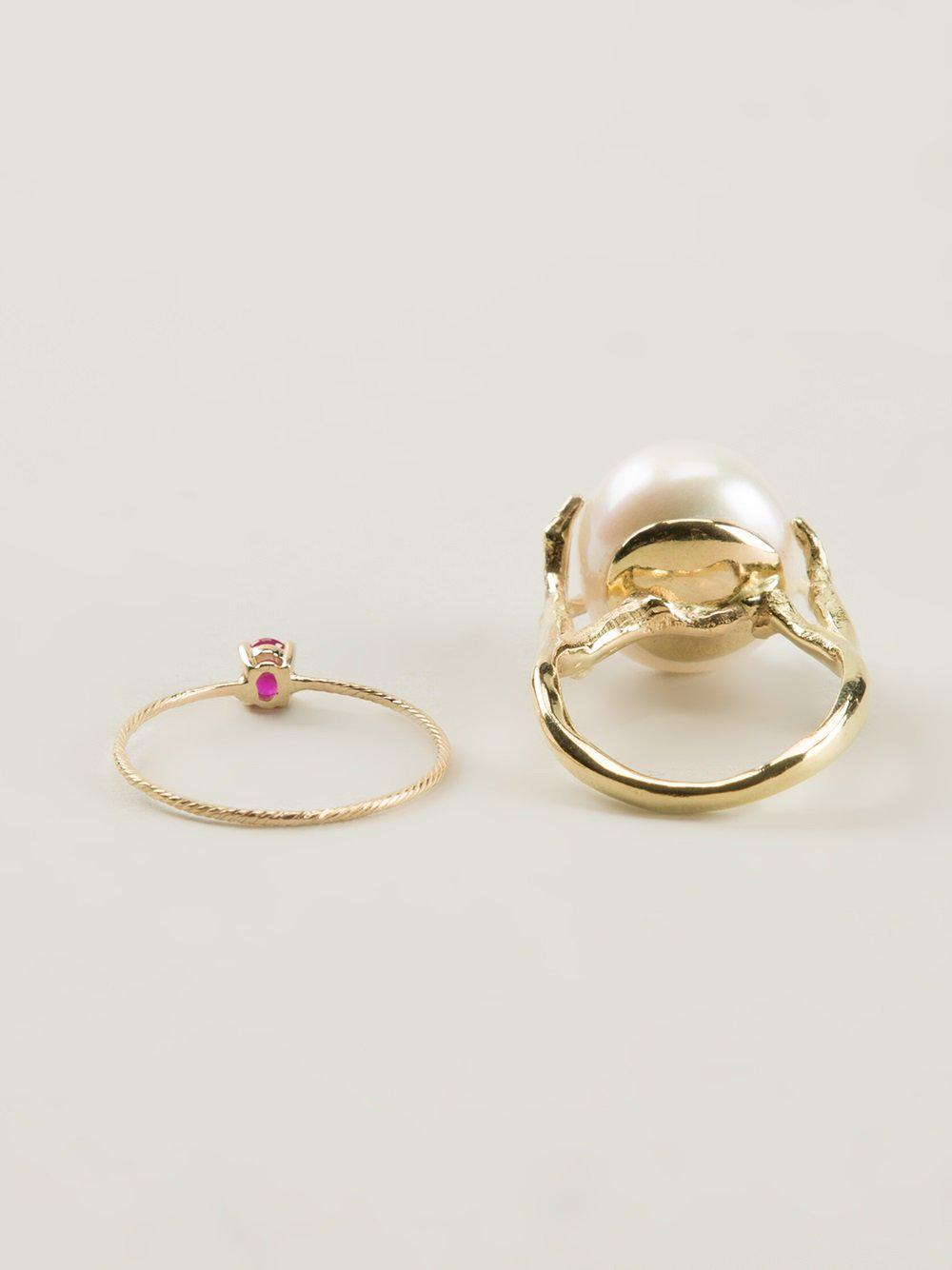 pearl & ruby set of rings - Metallic Wouters & Hendrix zdlMWknTwz