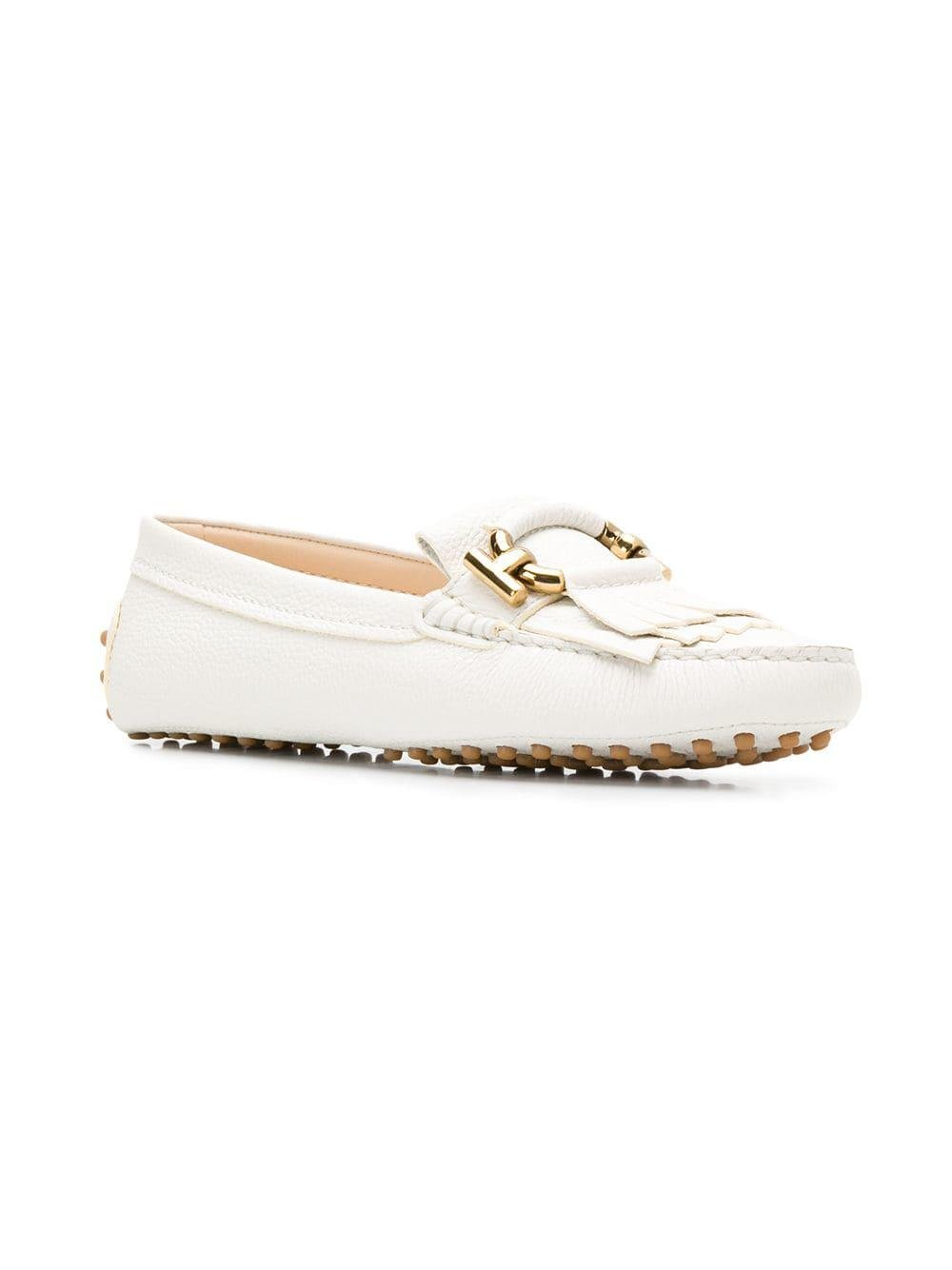 5af7413b09c Lyst - Tod s Gommino T Ring Loafers in White - Save 24%