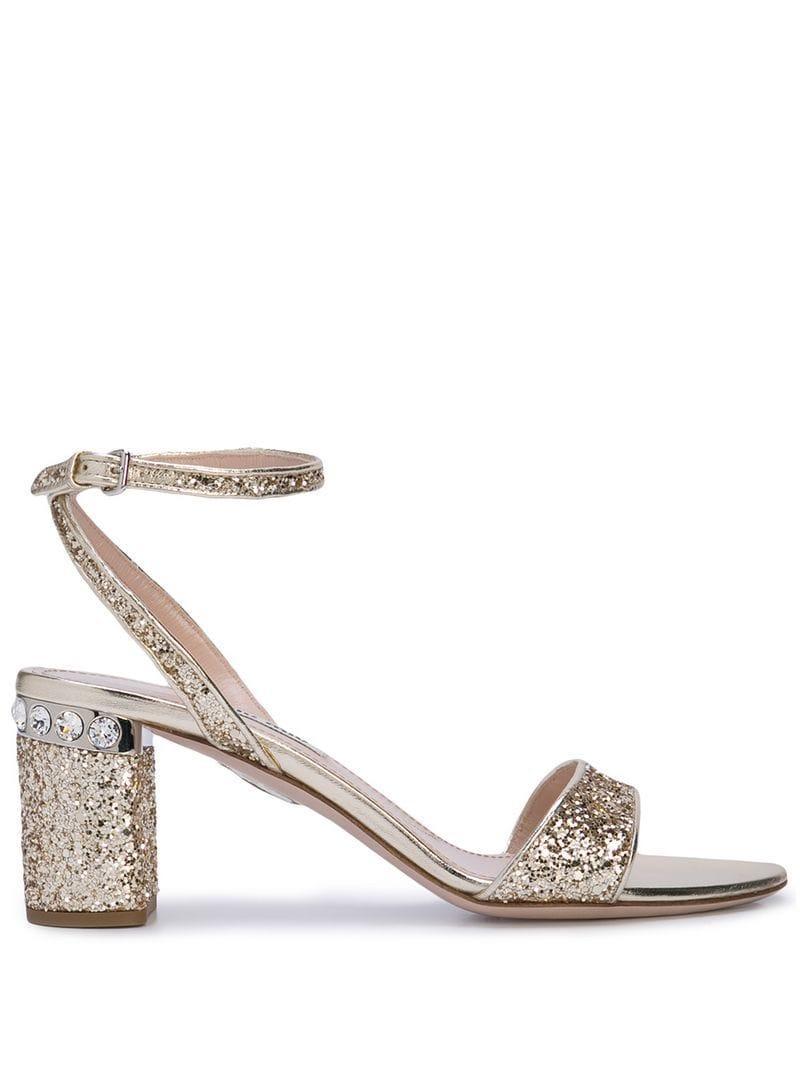 7e29478aa Miu Miu Glitter Heel Sandals in Metallic - Lyst
