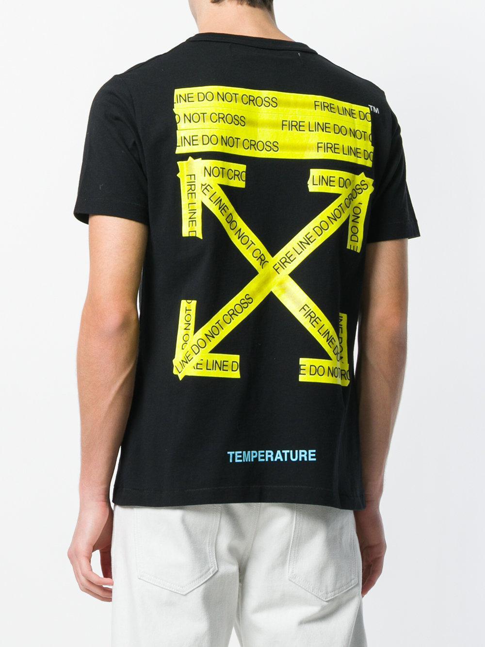 1916bc42d3ac Off-White c/o Virgil Abloh Caution Tape T-shirt in Black for Men - Lyst