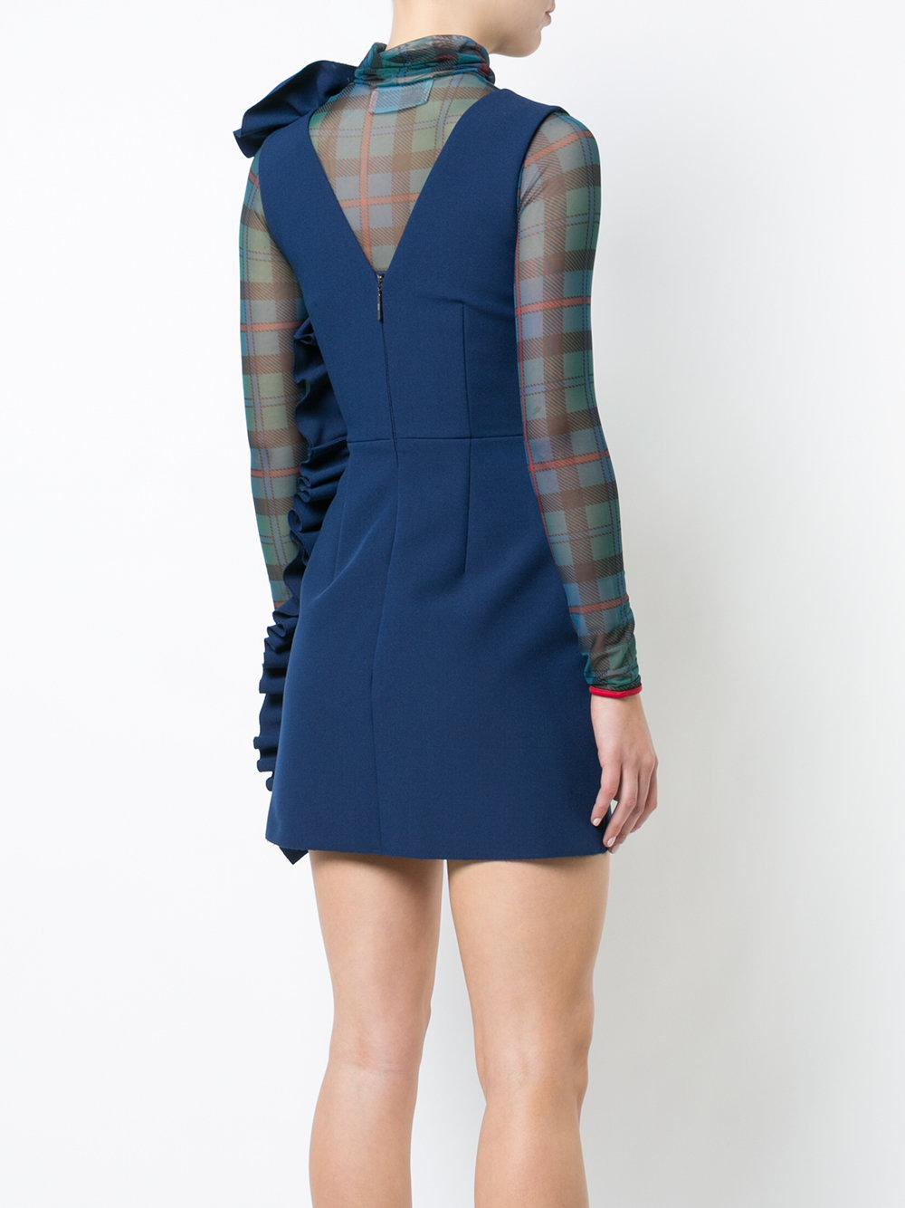 Clearance Pay With Paypal fitted sleeveless ruffle dress - Blue Msgm Free Shipping Pre Order QIDEyqd