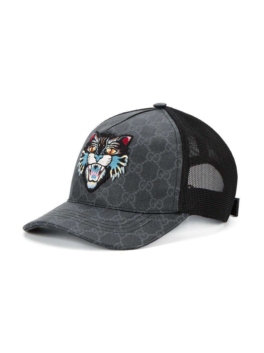29897bd91f679 Gucci Gg Supreme Angry Cat Baseball Cap in Black for Men - Lyst