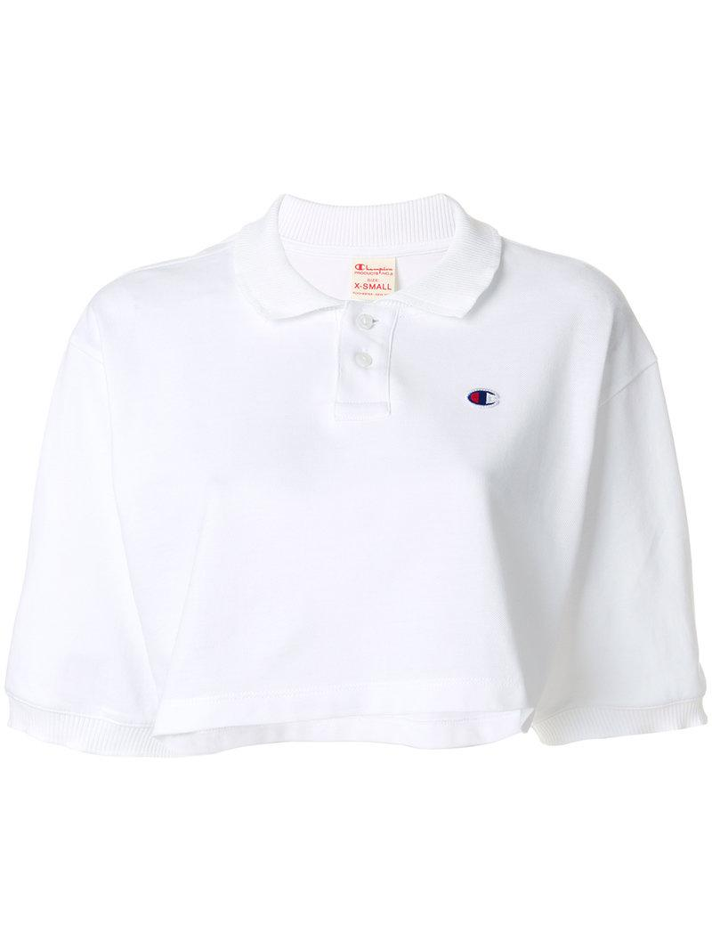 39d1bd72 Champion Cropped Polo Shirt in White - Lyst