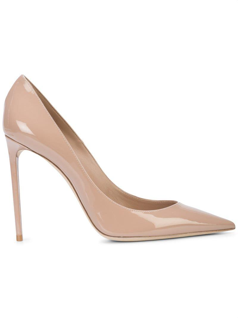 0cd217b2eea1 Lyst - Saint Laurent Zoe Patent Pump in Natural