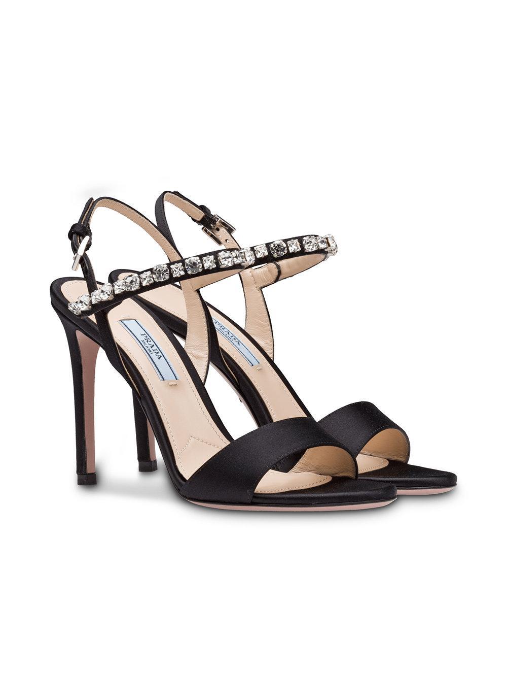 73532027680c Lyst - Prada Crystal Embellished Sandals in Black