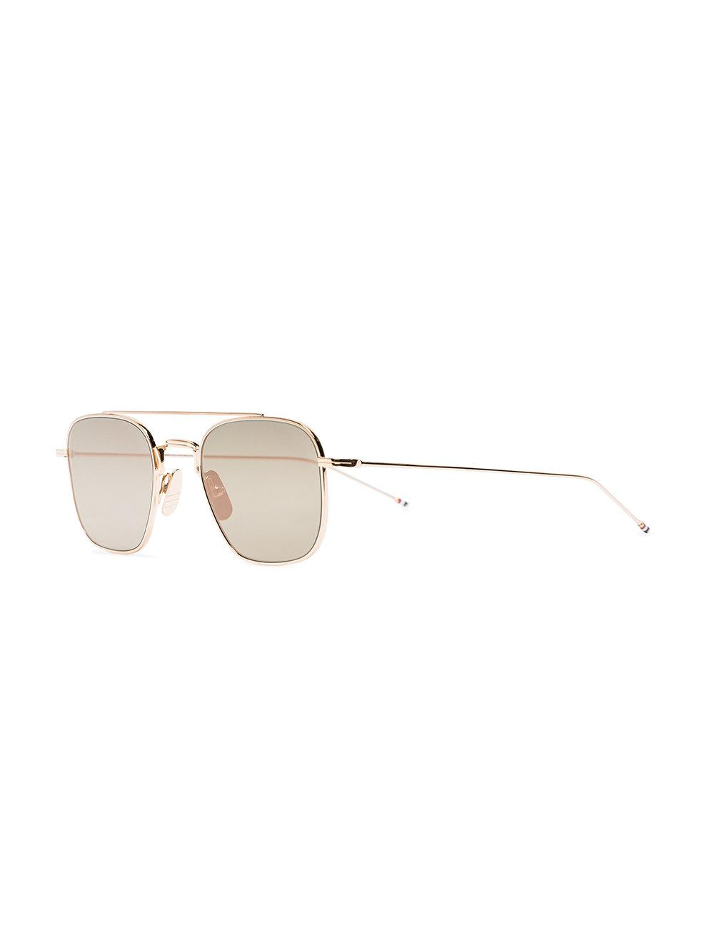 40df495ec88 Thom Browne Metallic Gold Pilot Mirror Sunglasses in Metallic for Men - Lyst