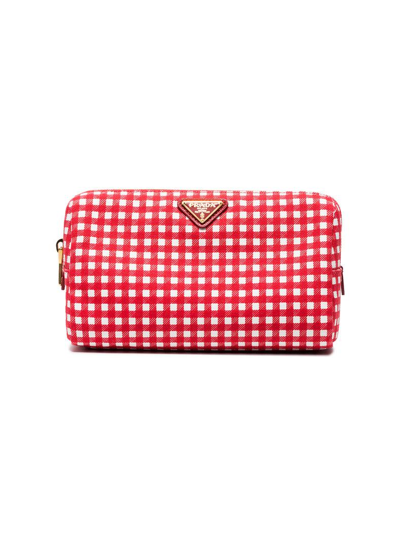 Gingham woven make-up bag Prada wmLKNh