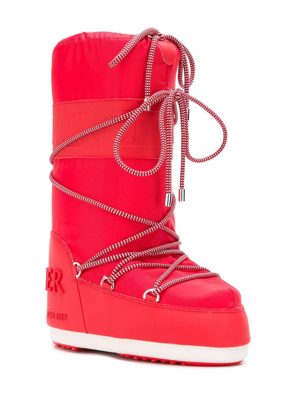 2800e4406 Moncler X Moonboot Lace Boots in Red - Lyst