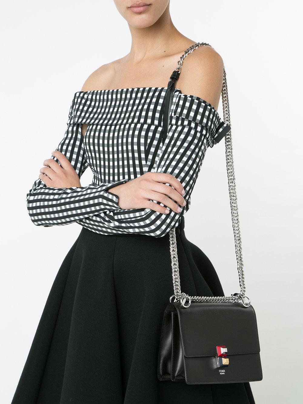 3e1c17703bb1 Fendi Small Kan I Shoulder Bag in Black - Save 10% - Lyst