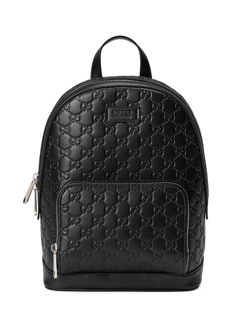 b2f56fc3abba Lyst - Gucci Signature Leather Backpack in Black - Save 9%