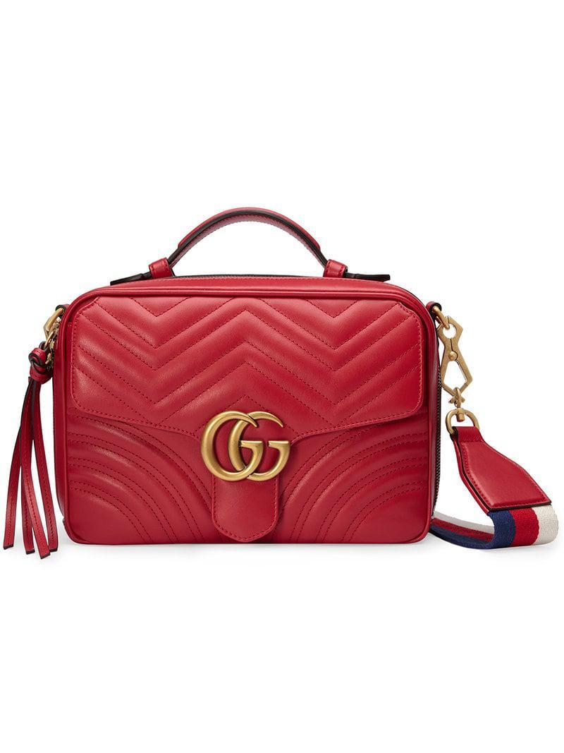 6a40454860ecc7 Gucci Gg Marmont Matelassé Shoulder Bag in Red - Lyst