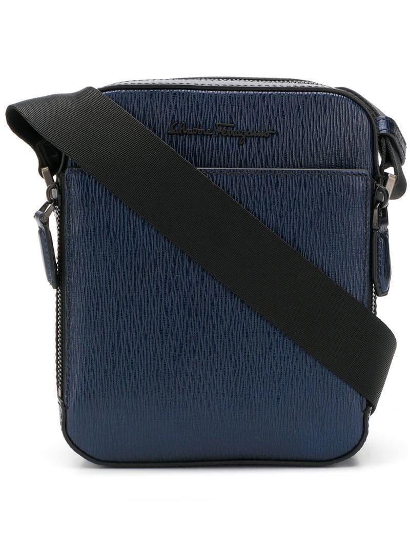 9b6ca3ca832b Lyst - Ferragamo Textured Leather Messenger Bag in Blue for Men