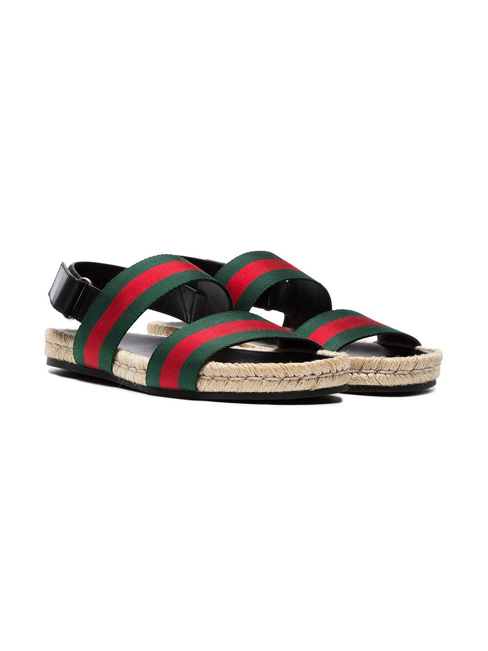 b5deeba79 Gucci - Green And Red Web Sandals for Men - Lyst. View fullscreen
