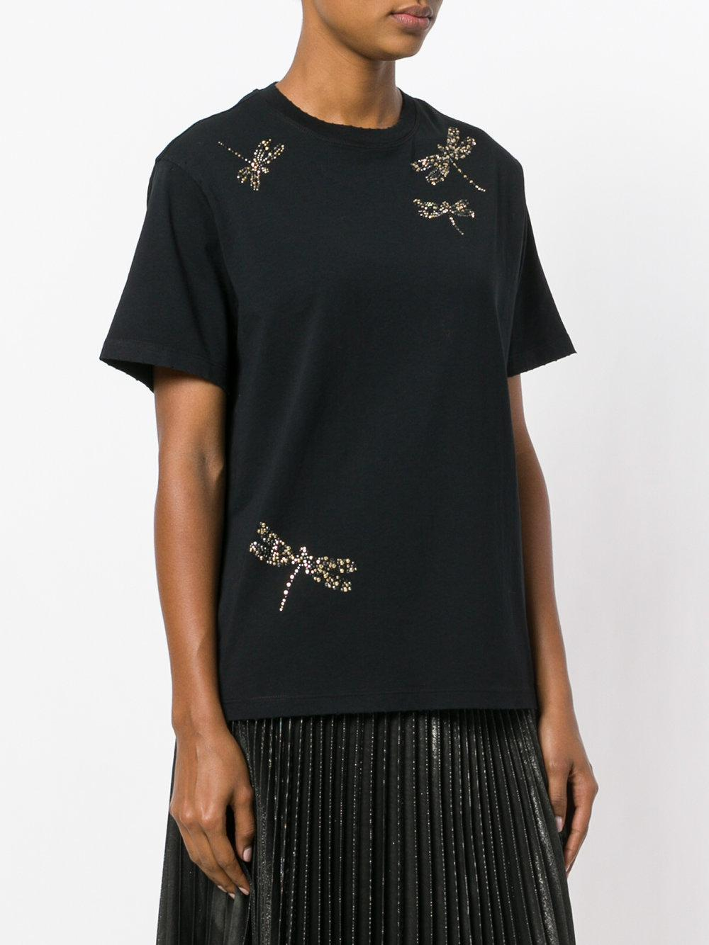 9fb2cd24d24f0 Lyst - RED Valentino Embellished Dragonfly T-shirt in Black