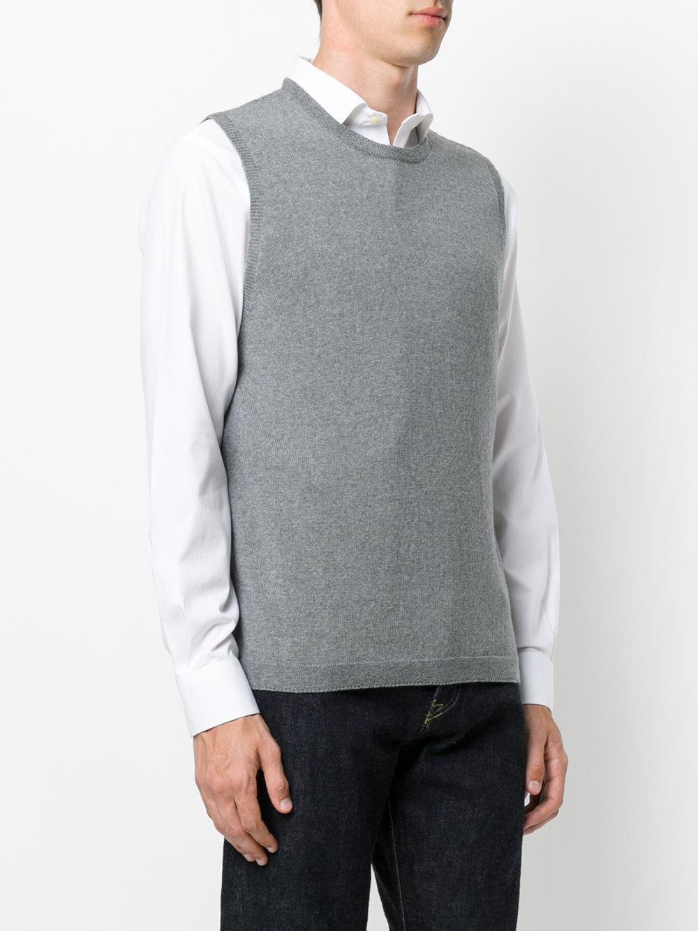 Etro Sleeveless Crew Neck Sweater in Gray for Men | Lyst