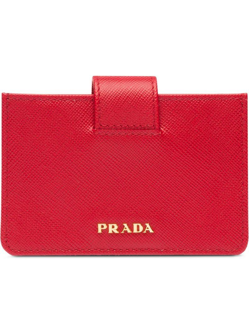 b79e1295c5c5 Prada - Red Saffiano Leather Cardholder - Lyst. View fullscreen