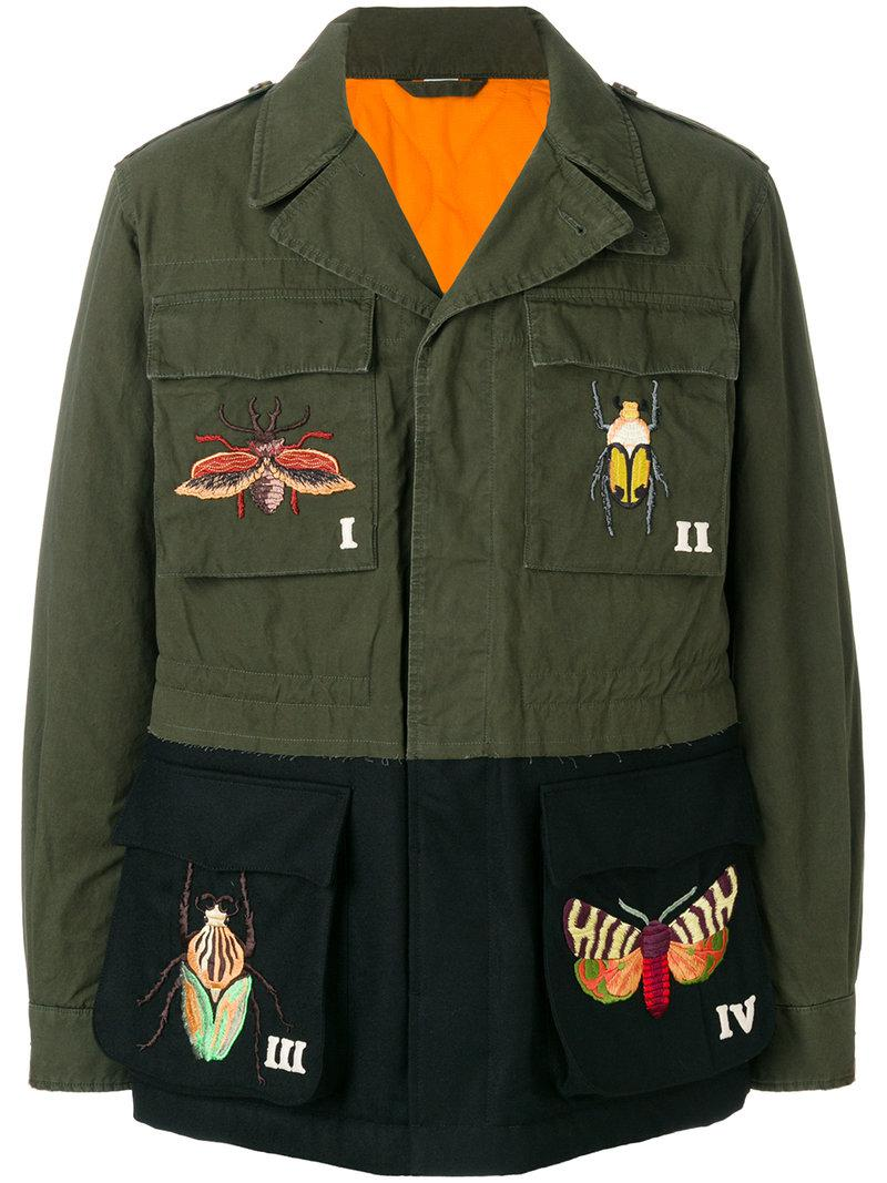 c0df31c828a Gucci Embroidered Military Jacket in Green for Men - Lyst