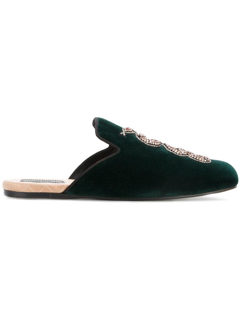 56e05baf5a1 Gucci Snake Embellished Evening Slippers in Green - Save ...