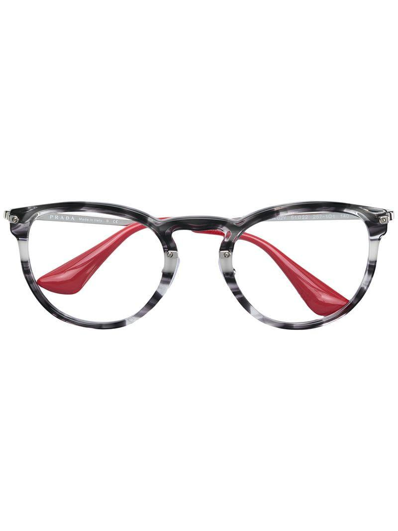 fe8a07388b Prada Round Frame Glasses in Black - Lyst