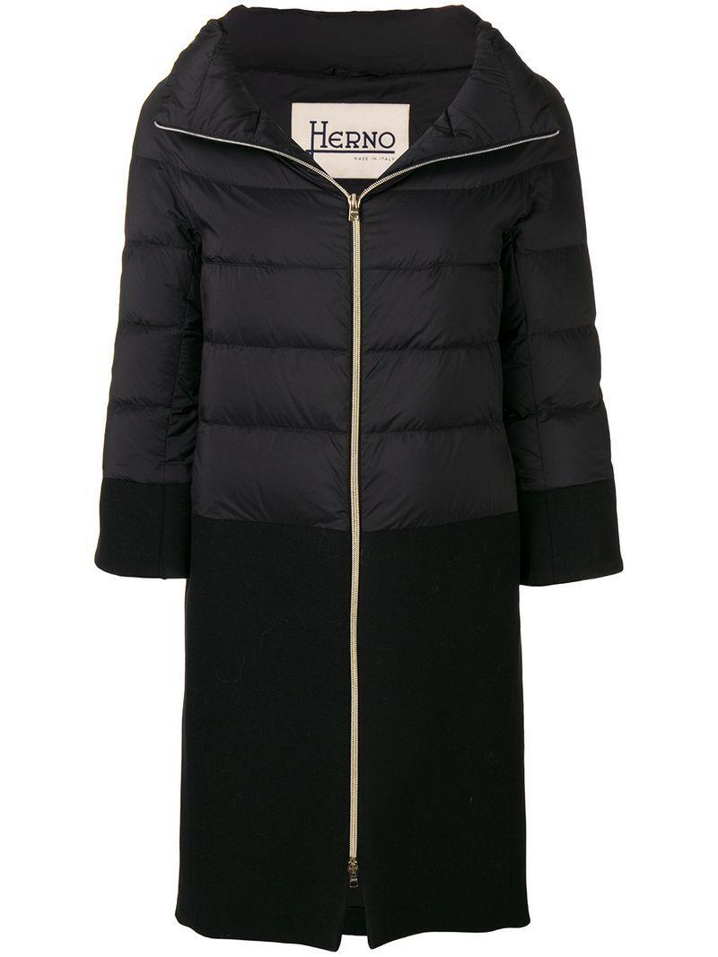 abajo chaqueta de negro Lyst de contraste Herno Panel xwq61FYHXn