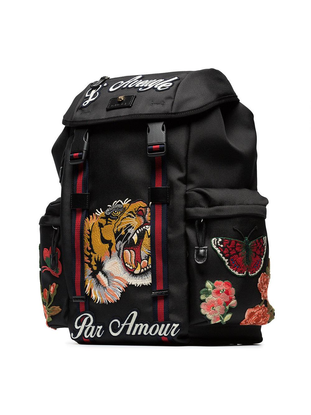 Lyst - Gucci Black Tiger Embroidered Backpack in Black for Men e1322e86d355a