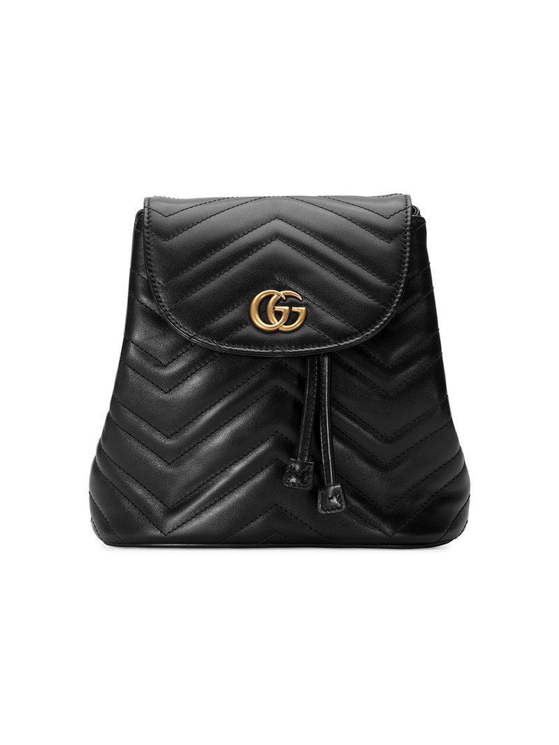 Lyst - Gucci Black GG Marmont Matelassé Backpack in Black - Save 16% 2e95b7b93dd63
