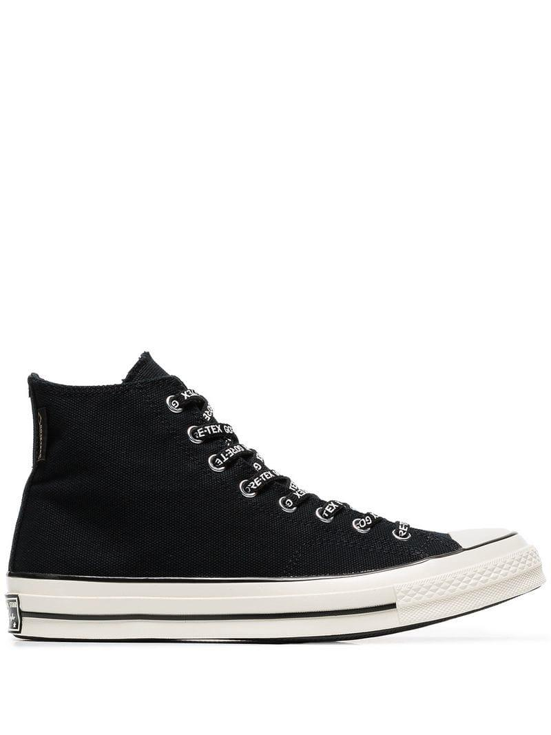 a10f5150b90 Lyst - Converse Black Chuck Goretex Hi-top Cotton Sneakers in Black ...