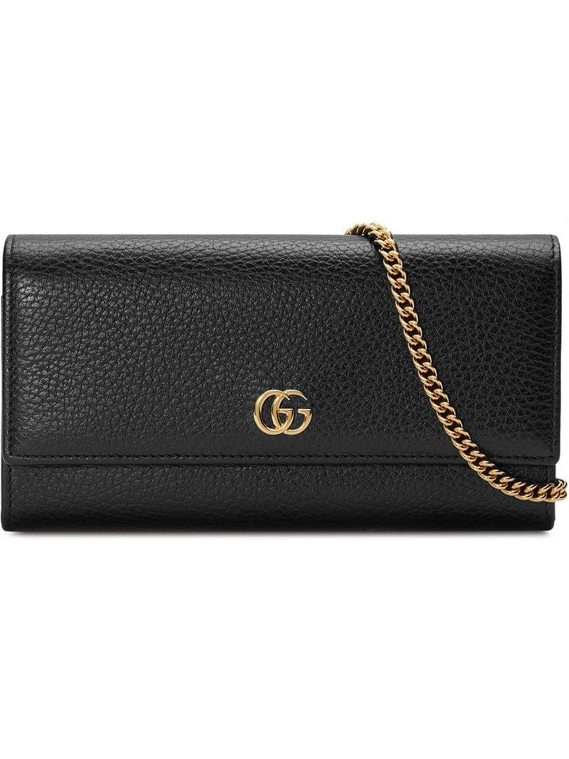 6ec6691f3a1 Lyst - Gucci GG Marmont Leather Chain Wallet in Black