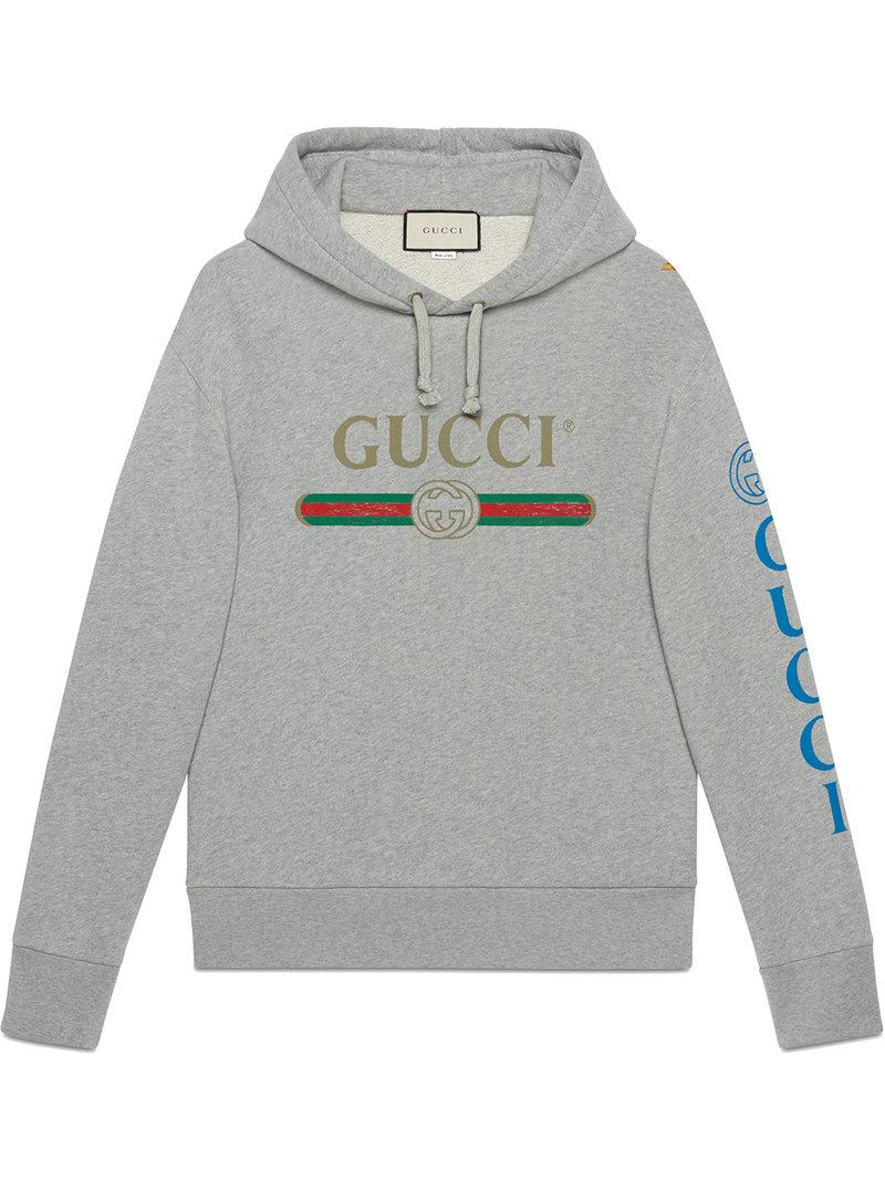 6bf11cae Lyst - Gucci Logo Sweatshirt With Dragon in Gray for Men