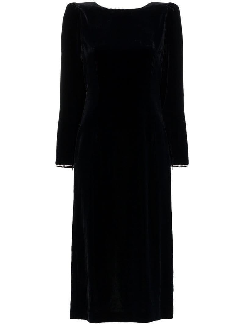 0a6d89b9c Gucci Crystal Embellished Open Back Silk Blend Velvet Dress in Black - Lyst