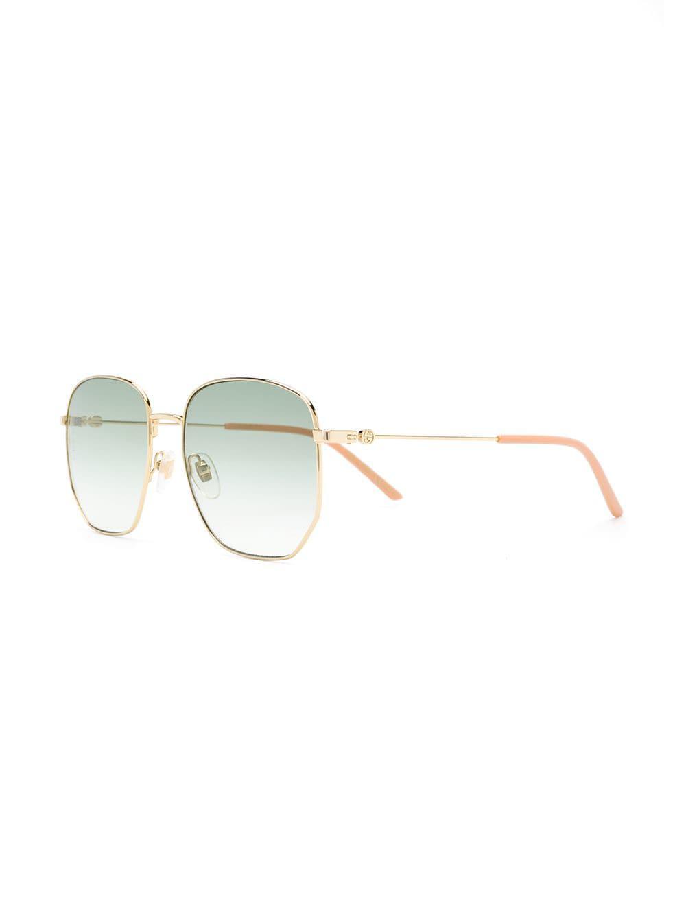 a48237d5ff874 Gucci Rectangular-frame Metal Sunglasses in Metallic - Lyst