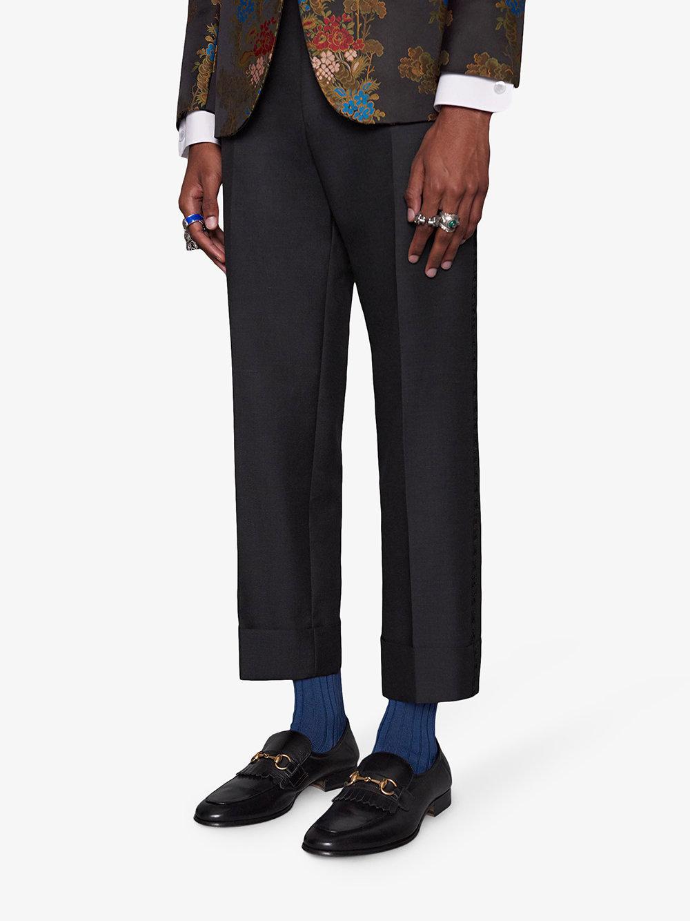 0954f2a7bb5 Gucci Leather Fringe Horsebit Loafer in Black for Men - Lyst