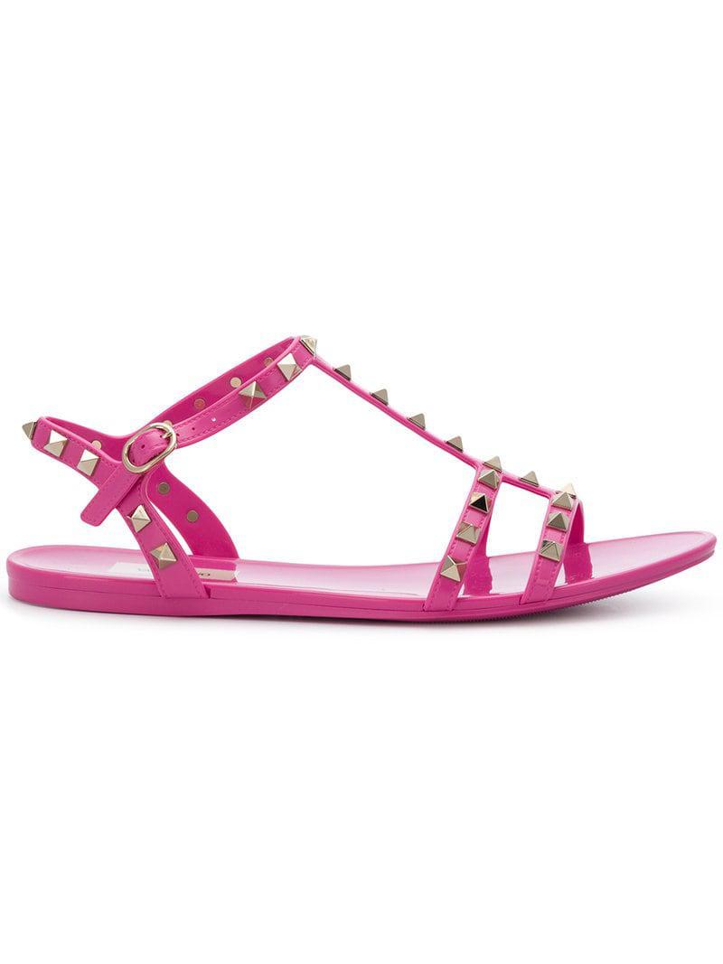ef938658793b Lyst - Valentino Rockstud Slide Sandals in Pink