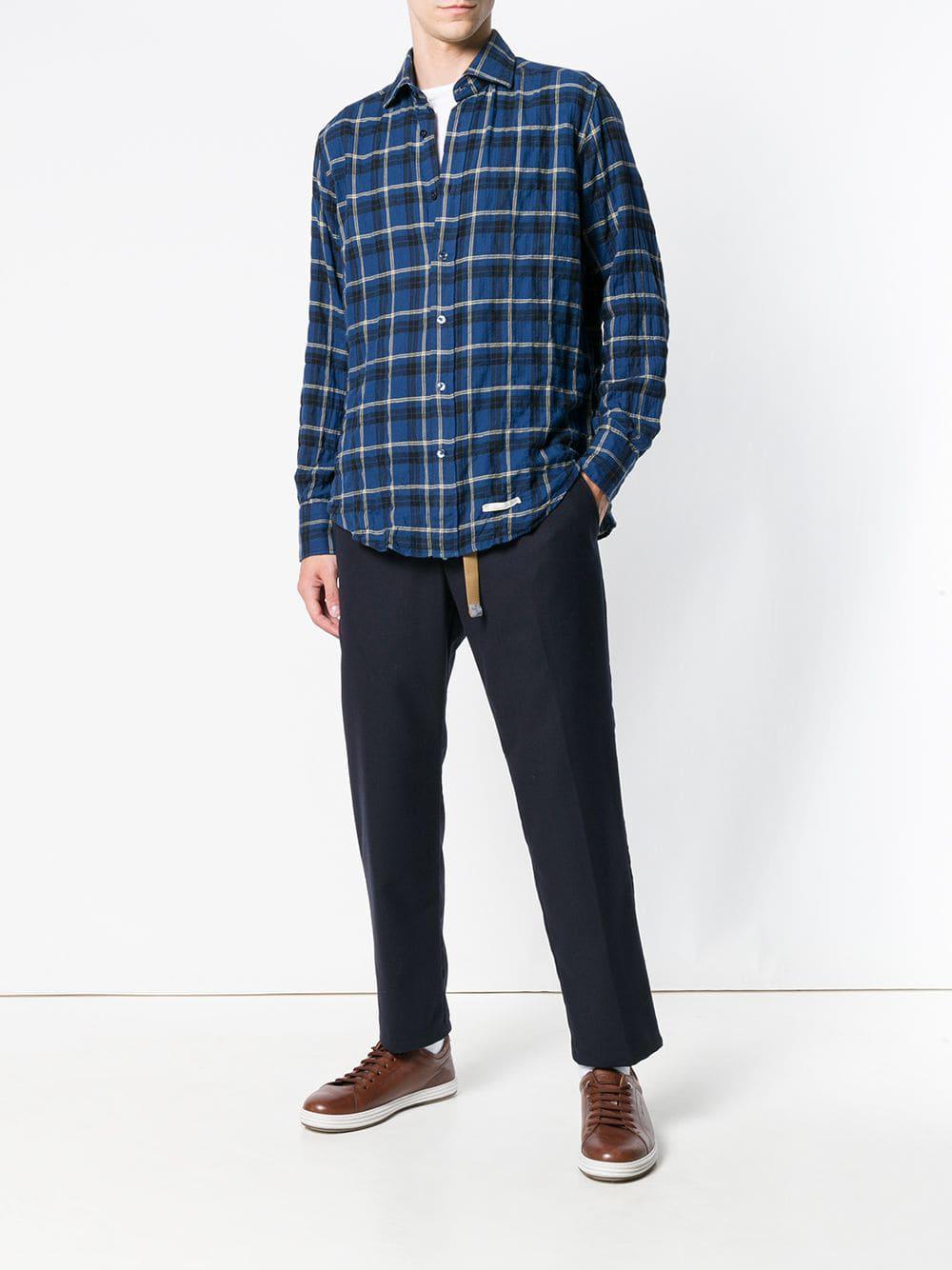 65bb2c2b33 Lyst - Tintoria Mattei Plaid Long-sleeve Shirt in Blue for Men ...