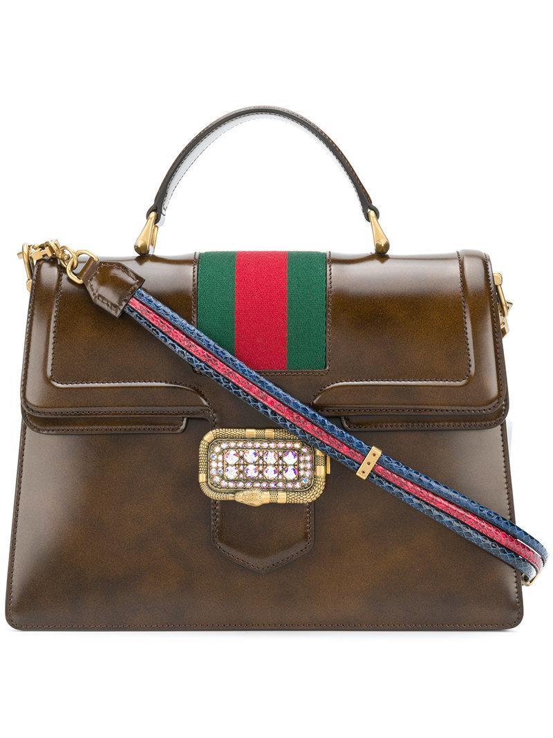 ef978222629c Gucci Medium Top Handle Tote in Brown - Lyst