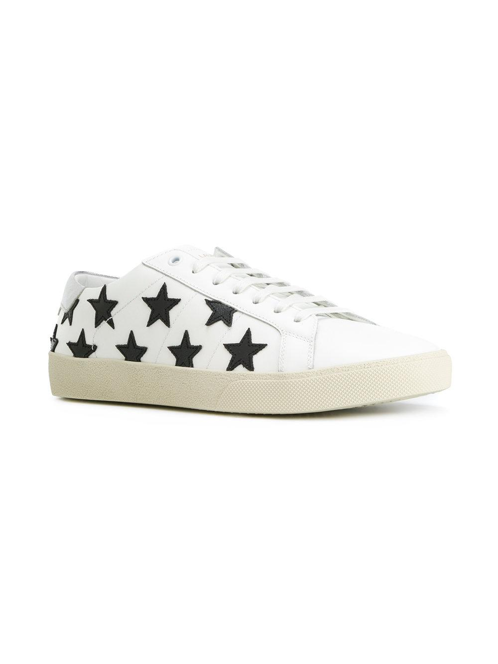 c75bf5cbb87e6 Lyst - Saint Laurent Heart Printed Sneakers in White - Save 45%