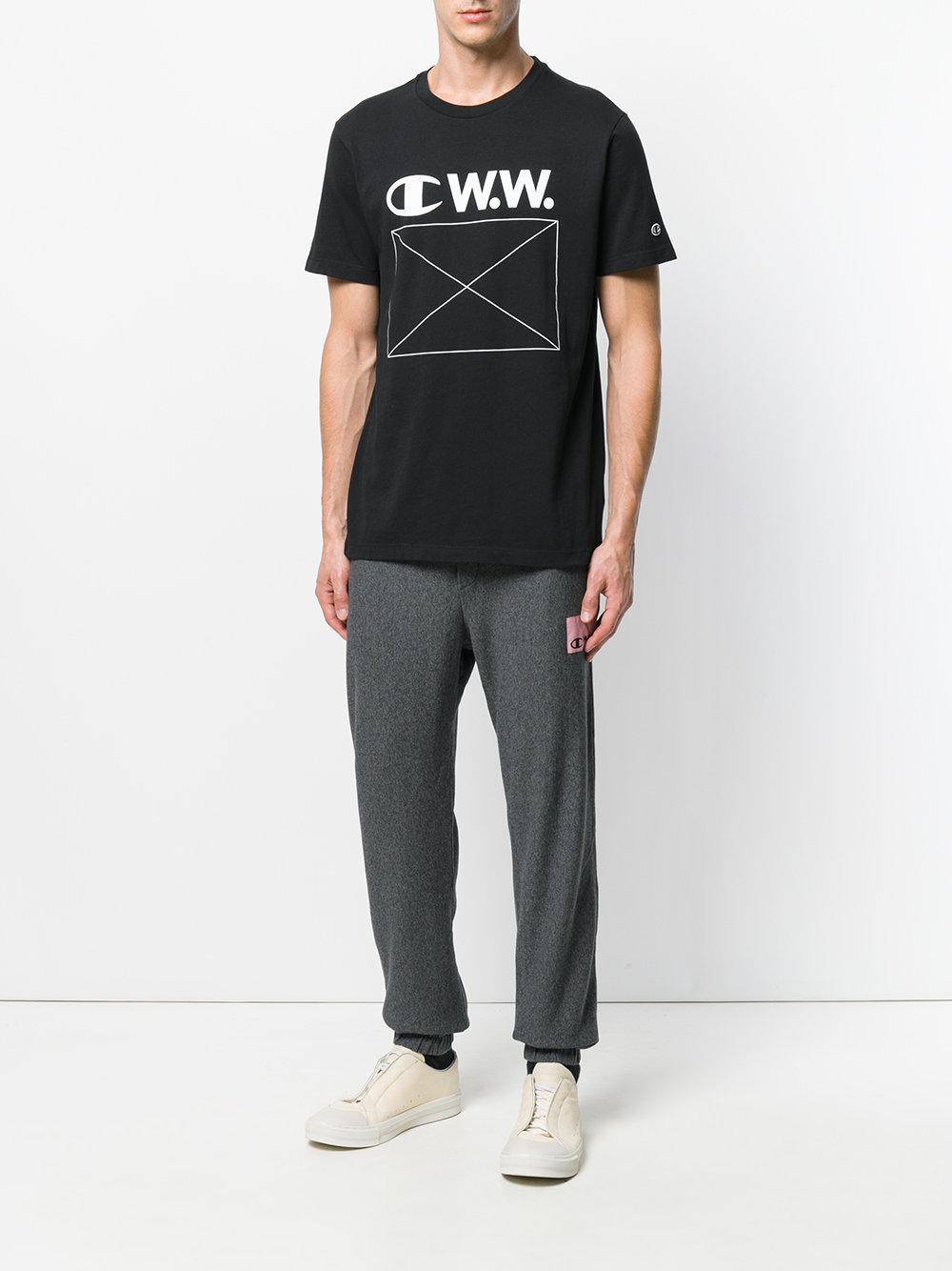 e7539483 Champion Logo Print T-shirt in Black for Men - Lyst