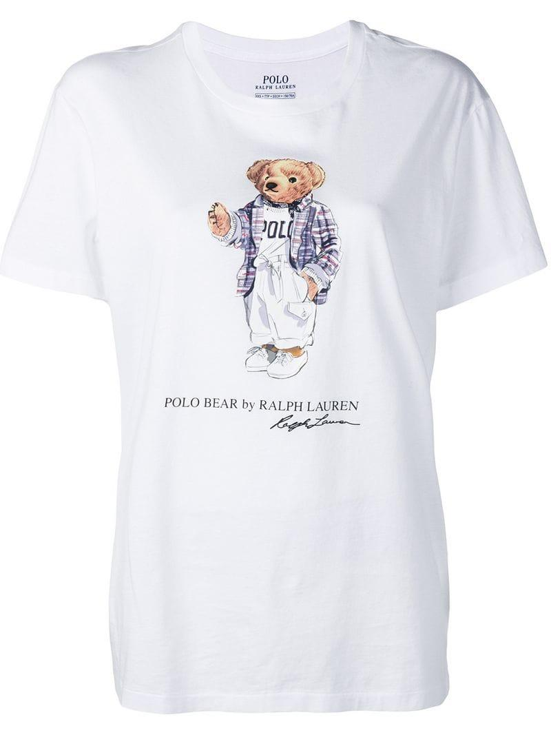 T Polo Shirt Ralph White Lyst Lauren Bear In Printed WEIYDH92