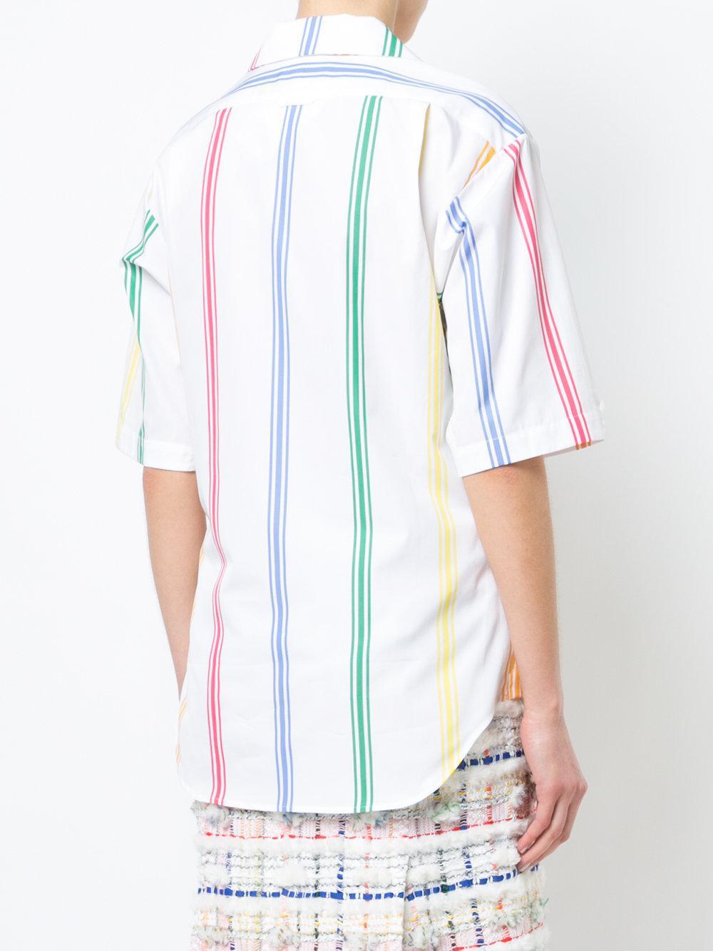 Cuban Polo Collar Blouse In Small Mods Stripe Poplin - Grey Thom Browne Wear Resistance Find Great Cheap Price K38WTEb10