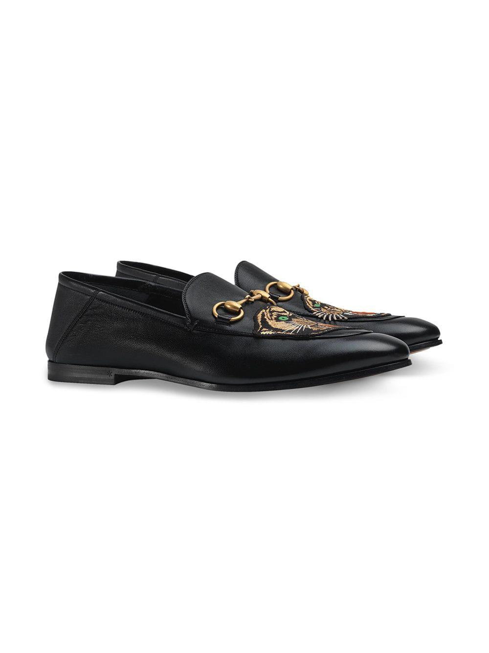 8b84527edd2 Lyst - Gucci Leather Horsebit Loafer With Panther in Black for Men - Save 5%