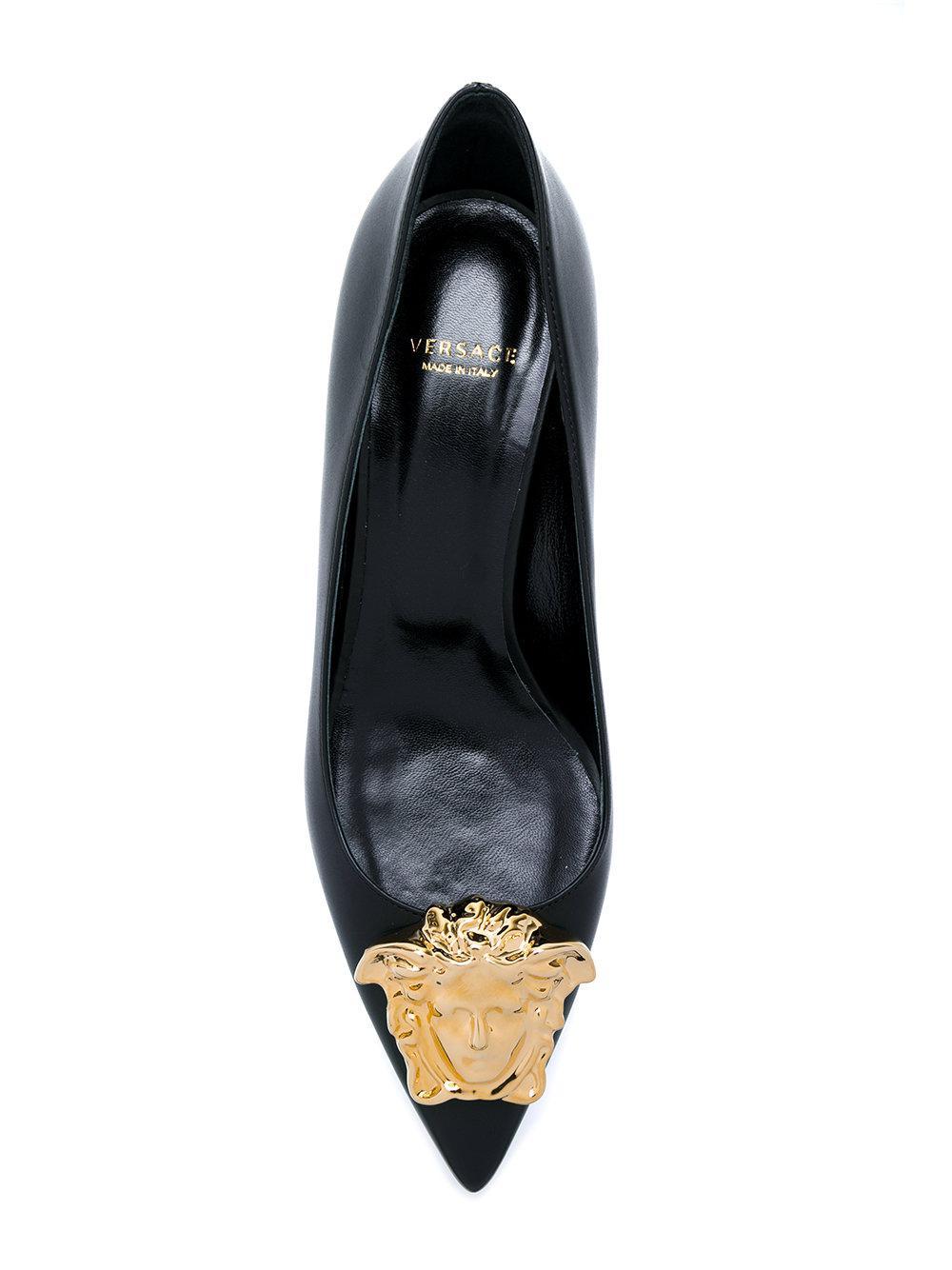 405404ecb95 Lyst - Versace Medusa Palazzo Pumps in Black