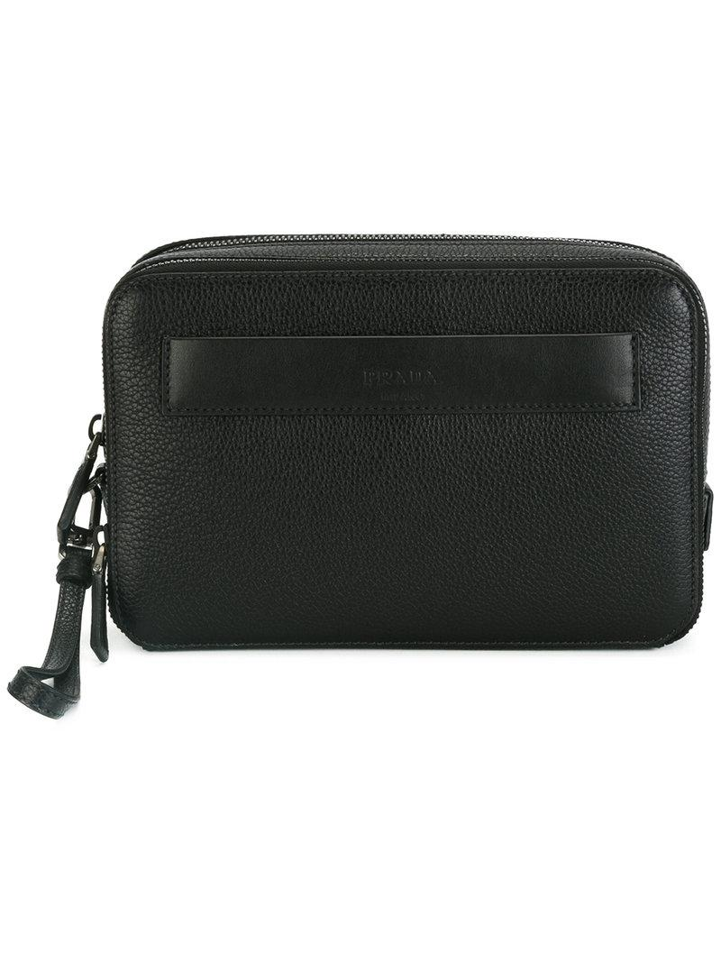 Prada - Hand-strap Clutch - Men - Calf Leather - One Size in Black ... 7b5dde1d3e4c1