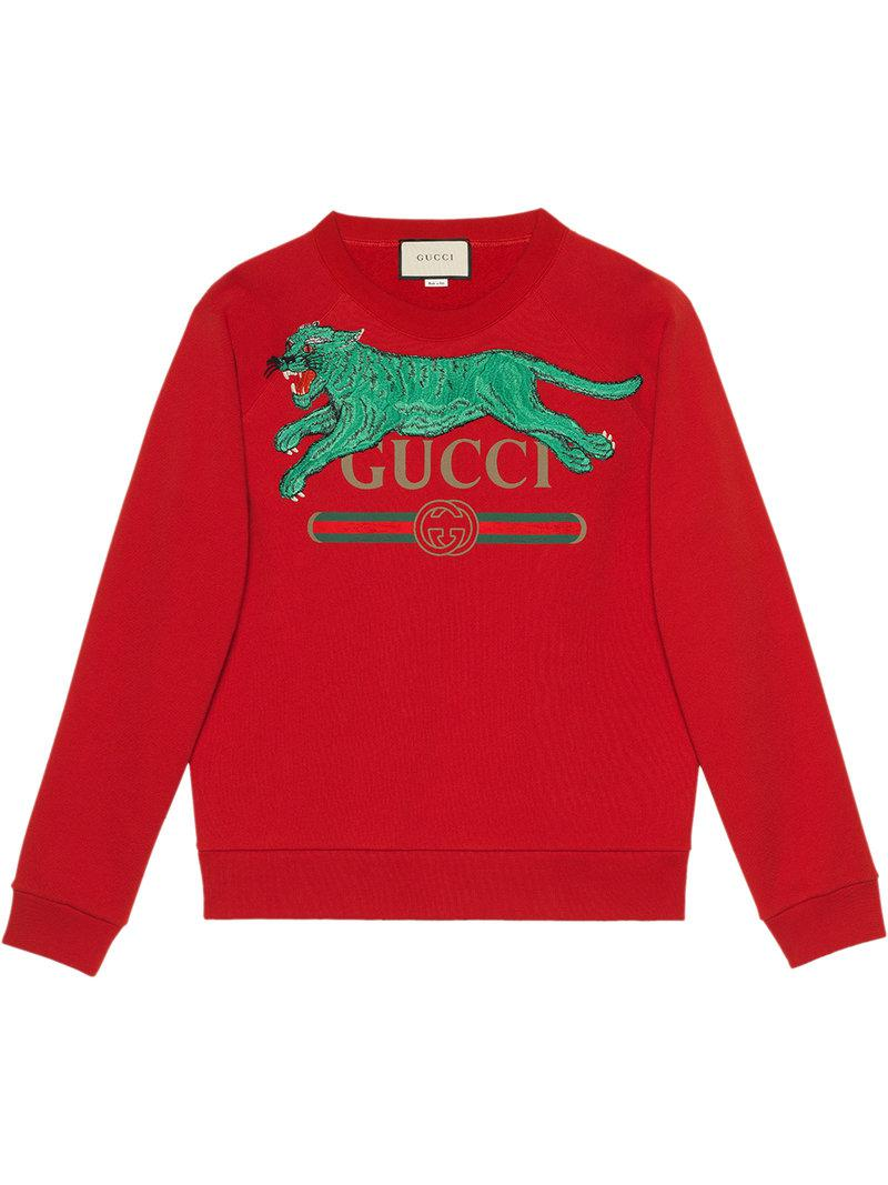 1b351f1c2ff Gucci - Red Logo Sweatshirt With Tiger for Men - Lyst. View fullscreen