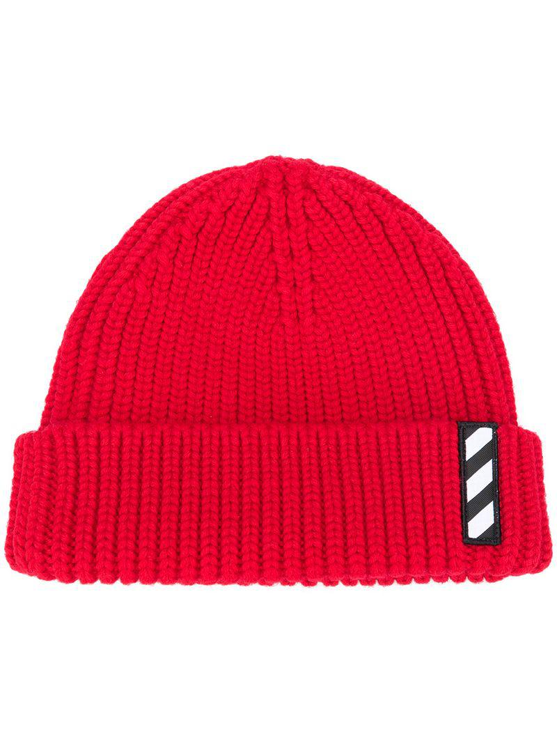 a744678c Off-White c/o Virgil Abloh Logo Patch Beanie Hat in Red for Men - Lyst