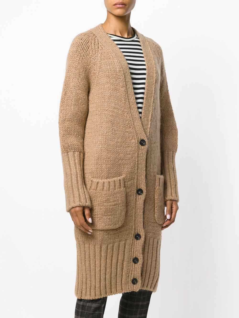 N°21 Chunky Knit Button-up Cardigan in Brown | Lyst