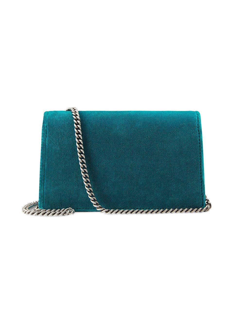 ef2e70c5f44 Lyst - Gucci Dionysus Velvet Super Mini Bag in Blue