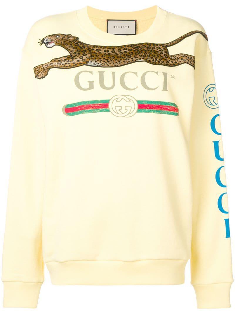 62430138d3c Lyst - Gucci Cities Print Leopard Sweatshirt in Yellow