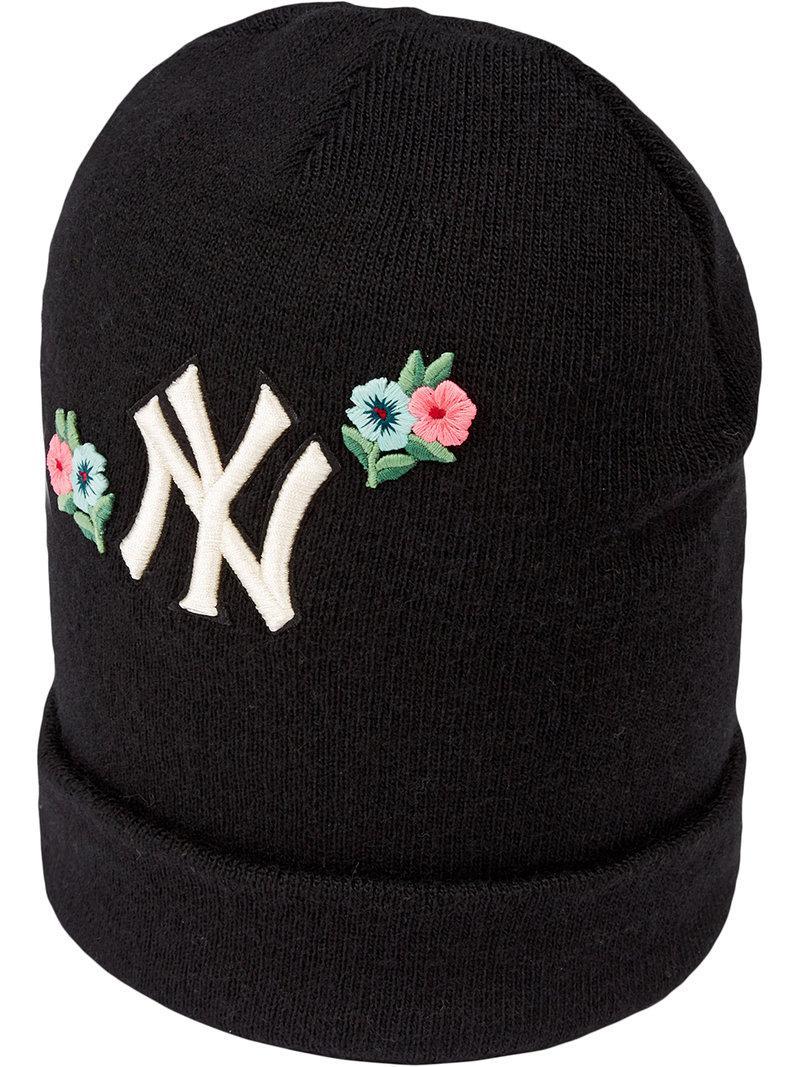 Lyst - Gorro de lana bordado New York YankeesTM Gucci de color Negro 1dbd9636ee9