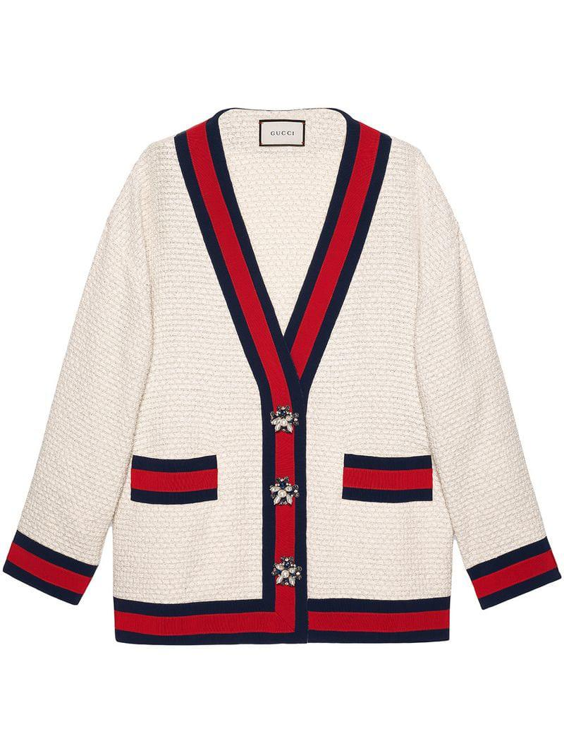 c2a7a428d Gucci - Red Oversize Tweed Cardigan Jacket - Lyst. View fullscreen